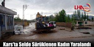 Kars'ta Selde Sürüklenen Kadın Yaralandı
