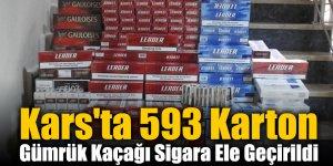 Kars'ta 593 Karton Gümrük Kaçağı Sigara Ele Geçirildi