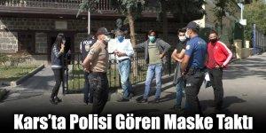 Kars'ta Polisi Gören Maske Taktı