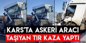 Kars'ta Askeri Aracı Taşıyan Tır Kaza Yaptı