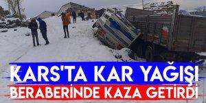 Kars'ta Kar Yağışı Beraberinde Kaza Getirdi