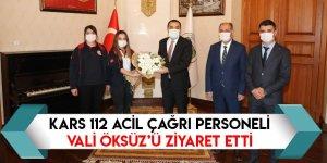 Kars 112 Acil Çağrı Personeli Vali Öksüz'ü Ziyaret Etti