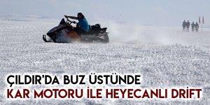 Çıldır'da Buz Üstünde Kar Motoru İle Heyecanlı Drift