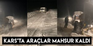 Kars'ta Araçlar Mahsur Kaldı