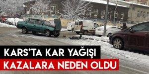 Kars'ta Kar Yağışı Kazalara Neden Oldu