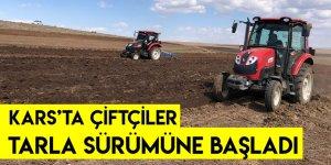 Kars'ta Çiftçiler Tarla Sürümüne Başladı