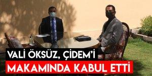 Vali Öksüz, Çidem'i Makamında Kabul Etti