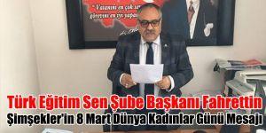 Türk Eğitim Sen Şube Başkanı Fahrettin Şimşekler'in 8 Mart Dünya Kadınlar Günü Mesajı