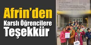 Afrin'den Karslı Öğrencilere Teşekkür